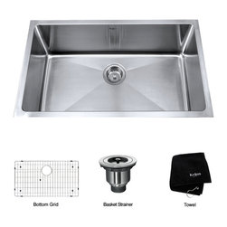 Kraus - Kraus 32-inch Undermount Single Bowl Steel Kitchen Sink - Choosing an undermount stainless-steel kitchen sink by Kraus shows that you are serious about kitchen safety. This 32-inch,single-bowl sink is made from a nonporous material that resists bacteria. The steel surface also makes it easy to clean.