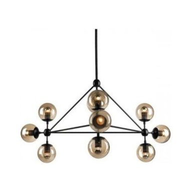 """Bola Pendant by Edge Lighting - Bola suspension features a metal geometric structure with 10 smoked globe shades. Ten 25-watt, 120 volt medium base clear G16.5 globe incandescent lamps included. It includes two stems: a 20"""" stem for mounting as a suspension and an 8"""" stem for mounting as a ceiling fixture. Dimensions: 40W x 17H. Overall height can be adjusted to either 30 inches or 55 inches."""