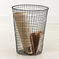 Modern Age Rubbish Bin - Wire has been artfully hand-twisted and finished with rust-proof lacquer to create this beautifully simple Modern Age Rubbish Bin. With lines classic enough to remain stylish with any modern decor for years to come, its durability will make sure it actually does.