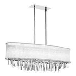 Dainolite - Dainolite JOS368-PC-119 8 Light Crystal Oval Chandelier Pc Finish - Dainolite JOS368-PC-119 8 Light Crystal Oval Chandelier PC Finish Oval White Organza Shade
