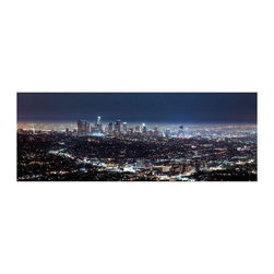 """Downtown Los Angeles"" Floating Photo Print - This positively iridescent photo by Rick Rose shows a classic panorama of the City Of Angels. 1/4 inch thick museum grade archival acrylic was used to face mount this beautiful floating frame.  All materials used are 100% archival museum grade."