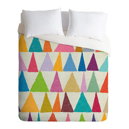 DENY Designs - Nick Nelson Analogous Shapes In Bloom Duvet Cover - Turn your basic, boring down comforter into the super stylish focal point of your bedroom. Our Luxe Duvet is made from a heavy-weight luxurious woven polyester with a 50% cotton/50% polyester cream bottom. It also includes a hidden zipper with interior corner ties to secure your comforter. it's comfy, fade-resistant, and custom printed for each and every customer.