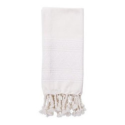 """Diamond Jacquard Twisted Fringe Dinner Napkin, 20"""", Set of 4, Ivory - The diamond Jacquard pattern that frames our cotton napkins adds a soft shimmer to each place setting. 20"""" square Made of pure cotton. Yarn dyed for vibrant, lasting color. Set of 4. Machine wash. Imported."""