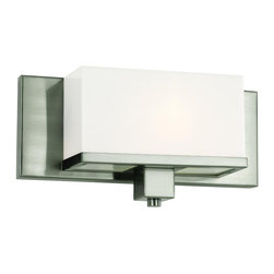 Brushed Nickel And Acrylic Cube 1 Light Bath/Wall Sconce - Condition: New - in box