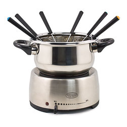 Nostalgia Electrics - Nostalgia Electrics Fondue Pot - Serve hors doeuvres,entrees,and desserts with style and fun using this silver electric fondue pot. This 2-liter fondue pot features adjustable temperature control,color-coded forks,and a stainless steel finish that will complement any home decor.