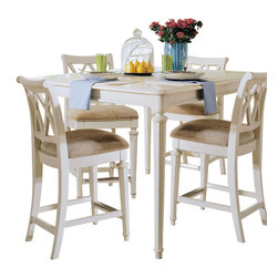American Drew - American Drew Camden-Light 5-Piece Gathering Dining Room Set in White Painted - The Camden-Light collection melds simple forms with quiet traditional references, gentle curves and a beautiful time worn ivory finish that lets the character of the wood show through. The brushed nickel finish hardware adds even more character to the Camden collection. This line will work great in your renovated farm house or a smaller beach cottage get-away.