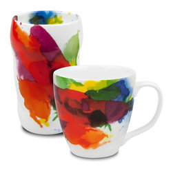 "Konitz - Set of 2 Mugs ""On Color!"" Double-Walled Grip Mug and Mug - Add a splash of watercolor to your morning routine with this travel mug and coffee mug set. The unique ""Grip"" Mug is double-walled, keeping the beverage inside hot and your hand comfortably cool."