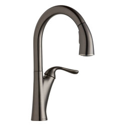 Elkay - Single Lever Pull Down Kit Faucet AS - Product height: 2.76. Product min width: 10.24. Product depth: 22.83 sngl lvr pd kit fct as. A magnificent blend of traditional and contemporary themes, harmony sinks and faucets embody simplicity yet resonate sophistication. Featuring straight lines and rounded profiles, this family offers an unrivaled transitional geometry. Harmony pull-down kitchen faucet deck mount pull-down spray.