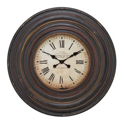Benzara - Wall Clock in Vintage inspired Pattern and Dark Brown Finish - Adorn the walls of your living room, bedroom or hallway, and add beauty to your traditional or contemporary decor with this excellent wood wall clock. This clock is designed in a vintage inspired pattern that is influenced by the iconic station clocks. With circular pattern of rings, the broad frame makes this clock look royal and majestic. The creamy dial is enhanced with black colored roman numerals that are not only attractive but also bold enough to be conveniently readable. The black colored minute and hour hands contrasts against the cream-colored dial, and brings a traditional style to the clock. Its quality mechanism will ensure precision timekeeping, which will help you keep up the time for your office or other important meetings. Moreover, the weathered finish in dark brown color renders an antique look, and it further complements the walls of your home with grace and elegance.