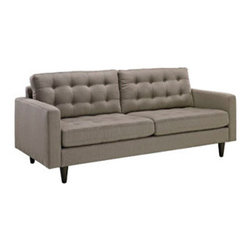 """LexMod - Empress Upholstered Sofa in Granite - Empress Upholstered Sofa in Granite - End the rule of unjust sovereignties that wage a useless war for your interiors. Empress leaves the would be heiress of holistic furnishings in the dust, with a design that rivals any competitor. Empress is heralded with deeply tufted buttons, plush cushions and armrests that convey that perfect air of nobility. The solid wood legs come with plastic glides to prevent floor scratching, and the fine fabric upholstery leaves the recipients feeling richly rewarded. Set Includes: One - Empress Upholstered Sofa Modern Sofa, Deeply tufted buttons, Polyester upholstery, Solid wooden legs, Glides to prevent scratching Overall Product Dimensions: 35.5""""L x 84.5""""W x 34.5""""H Seat Dimensions: 23""""L x 75""""W x 19""""H Armrest Dimensions: 4.5""""W x 6.5""""HBACKrest Height: 18.5""""H Cushion Thickness: 6""""H - Mid Century Modern Furniture."""
