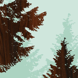 jefdesigns - 'Norway Spruce — Beacon Rock', Oregon Print - Spruce up your space with this print created from an original hand drawing of a Norway spruce tree. Digitally enhanced with wood grain, it will give your interiors a modern outlook.