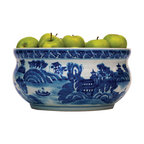 Kathy Kuo Home - Summer Palace Chinese Hand Painted Blue White Basin Fruit Bowl - The perfect addition to your blue-and-white collection, this hand-painted porcelain basin bowl can be used to hold fresh fruit or flowers, but looks equally beautiful on its own.