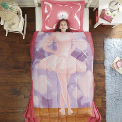 None - Ballerina Twin 2-piece Comforter Set - With a machine washable design,this ballerina-themed fashion-forward girls' bedding is truly on pointe. A bright pink tutu patterned makes this twin-size,ultra-plush microfiber comforter and sham set a chic addition to any little girl's room.