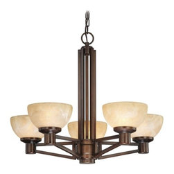 Design Classics Lighting - Five Light Modern Bronze Chandelier - 2820-133 - This five-light chandelier is featured in a rich bronze finish with Adia glass shades that will bring a soothing warmth to your foyer or dining room. Comes with six feet of chain and seven feet of wire. The ceiling canopy measures 4 7/8 inches. Takes (5) 100-watt incandescent A19 bulb(s). Bulb(s) sold separately. UL listed. Dry location rated.