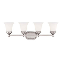 Savoy House Lighting - Savoy House 8P-60500-4-69 Main Street 4 Light Bathroom Vanity Light, Pewter - This transitional collection has a gleaming Pewter finish perfectly complemented by White Opal Etched Glass.
