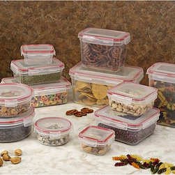 None - Plastic 24-piece Food Storage Set - This 24-piece storage container set comes with 12 covered containers in most convenient sizes. These items can easily accommodate anything from light snacks to large meals.