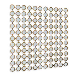 Kathy Kuo Home - Mila Hollywood Regency Round Mirror Mosaic Wall Decor - Large - Create a strong graphic effect with this small wall mounted grid of oval, gold framed mirrors.  Perfect for rooms in need of a contemporary pick me up, consider this an easy shot of visual espresso for any space.