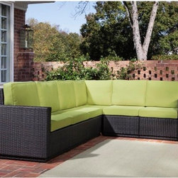 Home Styles Riviera Green Apple All-Weather Wicker Six Seat Sectional - The Home Styles Riviera Apple Green All-Weather Wicker Six Seat Sectional is ideal for anyone who loves to entertain and wants to make sure all of their guests have comfortable seating. Fade-resistant resin wicker is made from Cycroplene that is 100% recyclable as well as moisture- and weather-resistant. Featuring a deep brown color with a gold streak design which accents the apple green cushions, this sectional has a beautiful modern style. The powder coated aluminum frame is rust resistant and the pieces bolt together making this a strong and sturdy sectional. Polyurethane cushions with a polyester fiber wrap are soft to the touch as well as resistant to stains, fading and repels water. Adjustable levelers accommodate uneven surfaces so you don't have to worry about the sectional rocking uncomfortably. A beautiful addition to any patio or deck, you'll love the superb craftsmanship and design of this sectional.Additional FeaturesCycroplene construction is 100% recyclableCycroplene is moisture- and weather-resistantEasy to maintain with mild soap and waterAdjustable levelers accommodate uneven surfacesPieces bolt together for added support and sturdinessAbout Home StylesHome Styles is a manufacturer and distributor of RTA (ready to assemble) furniture perfectly suited to today's lifestyles. Blending attractive design with modern functionality, their furniture collections span many styles from timeless traditional to cutting-edge contemporary. The great difference between Home Styles and many other RTA furniture manufacturers is that Home Styles pieces feature hardwood construction and quality hardware that stand up to years of use. When shopping for convenient, durable items for the home, look to Home Styles. You'll appreciate the value.