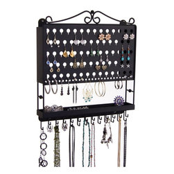 Wall Jewelry Organizer Earring Holder Necklace Rack-Multi-purpose Earring Angel - The Multi-Purpose Earring Angel - Wall Mount Jewelry Organizer was specifically designed to organize a variety of different sizes and types of pierced earrings from tiny stud/post earrings to long and extra long hook dangle pierced earrings and hoops as well as long necklaces and bracelets.   Available in Black, Rubbed Bronze and Satin Nickel Silver.