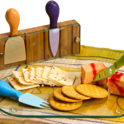 """Picnic Plus - Monaco Cheese Board, Bamboo/Glass - Picnic Plus Tempered Glass Monaco Cheese Board With Serving Tools, Bamboo/Glass. Color/Design: Bamboo/Glass; Bamboo base with four contemporary cheese knives with molded handles; 12"""" board rests securely in the eco friendly bamboo tool holder and removes for use; Dishwasher safe glass board and easy to clean tools; Makes a stunning piece on your table while entertaining with guests and friends; Tools store securely in the bamboo base. Dimensions: 12""""W x 7""""D x 2""""H"""