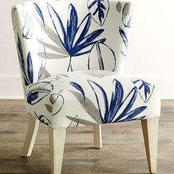 Allison Botanical Chair by Massoud - An accent chair can do more than just provide extra seating; it can breathe new life into a room. With a botanical print in bold blue and cool gray on crisp white, this contemporary chair brings refreshing coastal ambiance to any room.