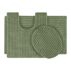 None - Xavier Stripe Deep Fern Bath Rug Set of 3 - Enjoy the plush feel of the Xavier Stripe bath and spa collection while adding a classic note of design and color. These three green bath items are created from durable, machine-washable nylon with non-skid latex rug backing for safety.