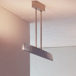 """Escale - Impression ceiling light - Product description:  The Impression ceiling light  was designed by Mosru Mohiuddin and is produced by Escale. Impression is  manufactured in polished stainless steel. The shades are available in matt  nickel plated or matt gold plated.       Details:                                        Manufacturer:                                       Escale                                                       Designer:                              Mosru Mohiuddin                                       Made in:                                      Germany                                                             Dimensions:                                       l:     23.6""""(60cm)               x h: max 15 3/4""""(40cm)                                                                                                 Light bulb:                                       2 x 100W      (not included)                                       Material                                       steel, nickel                              ... about Escale ...  Light for living, sensuous  objects with more than just the function, timeless forms for individualists from  individualists. This is the world of Escale. Conceived by two people , with  completely different backgrounds, both driven by the search for new ideas and  the perfect form. Each and every Escale piece is an expression of this search,  as well as being the guide to unknown shores. New surroundings in new  environments, in which time and fashion play no significance, where form and  function are in perfect harmony. The journey continues, the route is the  destination."""