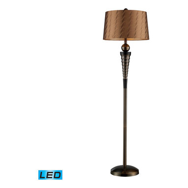 Dimond Lighting - Laurie 1-Light LED Floor Lamp in Dunbrook and Dark Wood - Dimond Lighting D1739-LED Laurie 1-Light Floor Lamp in Dunbrook and Dark Wood