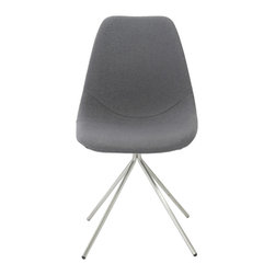 Eurostyle - Eurostyle Dax Side Chair in Gray Fabric & Brushed Stainless Steel - Set of 4 - The seat and back are fabric on foam and quite comforting.  It's the base of the DAX chair that sets it apart. The four brushed stainless legs come together and form a one legged 'pedestal' that supports the chair.  It's a subtle design distinction that truly distinguishes DAX from the rest. What's included: Side Chair (can only be purchased in sets of 4) .