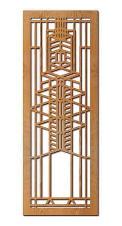"""Lightwave Laser - Frank Lloyd Wright Robie Glass Hardwood Art Screen Wall Panel Cherry - This stunning Frank Lloyd Wright Robie Art Glass Hardwood Art Screen Wall Panel measures 31.5"""" x 11.5"""" x .5"""" depth and has been precision laser-cut and comes with a cherry veneer finish. Each panel is notched on the back for hanging and includes hanging screw. The Frank Lloyd Wright Robie Art Glass Hardwood Wall Panel design is adapted from one of the art glass windows in the Frederick C. Robie House (1908)."""