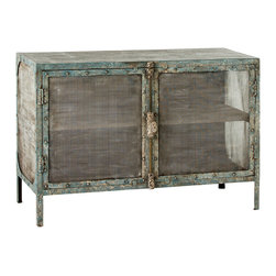"Arteriors - Arteriors Finn Cabinet - The wood Arteriors Finn cabinet mixes rich textures for rustic refinement. Behind double mesh doors, the distressed turquoise piece features a single shelf for striking storage. 48""W x 20""D x 32.5""H; Distressed turquoise"