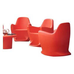 Bonaldo - Bonaldo Flip Modern Rocking Chair, Red - The Flip modern rocking chair was designed by Dondoli & Pocci and manufactured by Bonaldo in Italy. The chair is a modern interpretation of a classic rocking chair. Flip is a comfortable and inviting rocking chair. The chair is made of durable batch dyed eco friendly polyethylene which makes it perfect for both indoor and outdoor use.