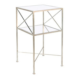 """Worlds Away - Worlds Away Two-Tier Square Side Table-Available in Two Different Colors, Silver - This lovely two-tiered table is the perfect small accent for any room.  The table features """"X"""" sides and a mirrored top.  The table measures 15""""W X 15""""D X 28""""H. It is available in Gold Leaf or Silver Leaf."""