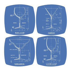 Thirsty Stone - 4 Pc Barchitecture Appetizer & Dessert Plates Set - Set includes 4 pcs. appetizer plates. Rubber gasket on bottom keeps plate in place. Fits most wine and drinking glasses. Made of Porcelain. Dishwasher safe. No assembly required. 6.25 in. L x 6.25 in. W (2 lbs.)