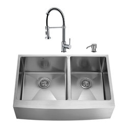 """VIGO Industries - VIGO All in One 36-inch Farmhouse Stainless Steel Double Bowl Kitchen Sink and C - Give your kitchen a complete makeover with a VIGO All in One Kitchen Set featuring a 36"""" Farmhouse - Apron Front sink, faucet, soap dispenser, two matching bottom grids and two strainers."""