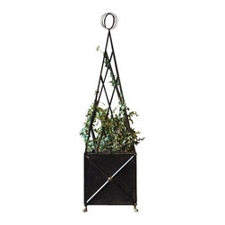 Marco Polo Imports - Cordelia Pyramidal Planters - Classic planter forged from modern black iron with an intricate pyramidal plant supports.