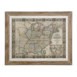 Uttermost - Uttermost 41510  Travellers Guide To The US Framed Art - Print is accented by an oatmeal linen liner then surrounded by a reclaimed wood-look frame with a heavy taupe wash. print is under glass.