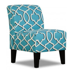 Simmons - Made to Order Simmons Upholstery Apache Blue Armless Chair - Brilliant Apache blue fabric is decorated with a trendy white geometric pattern to form the eye-catching Simmons Upholstery armless chair. Designed with handsome espresso legs,this chair is a great addition to any modern space.