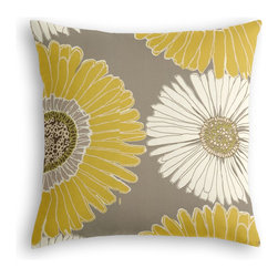 Yellow & Gray Giant Daisy Custom Throw Pillow - The every-style accent pillow: this Simple Throw Pillow works in any space.  Perfectly cut to be extra fluffy, you'll not only love admiring it from afar but snuggling up to it too!  We love it in this oversized yellow & gray daisy on cotton sateen. this giant modern floral is sure to drive you daisy!