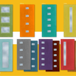 Mid2Mod -- A Trendspotting Guide to Interior and Exterior DOORS - A page from the Feb 2014 Mid2Mod brochure from Alliance Door Products shows the EXUBERANT colors common to the genre. Oh, to be a BOLD retrophile!