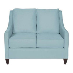 "Howard Elliott Sterling Breeze Side Car Loveseat - Our Side Car Loveseat features classic styling in bold fabrics. It is hand crafted with extra plush cushions with removable covers for easy care. Seat height is 22"" - seat depth is 23"" - COM options available Light Blue Polyester fabric"