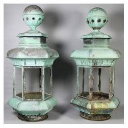 Lot 18:  Pair of Monumental Copper and Glass Lanterns - Lot 18:  PAIR OF MONUMENTAL COPPER AND GLASS LANTERNS oxidized to green, these oversized lanterns with hexagonal fixture below a rounded top, raised on smaller, conforming base; both lanterns were salvaged from the wheelhouse of the Lackawanna, which served as a ferry boat in the Washington, D.C. area (2) - h: 57 x w: 27 x d: 23 in.