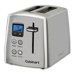 Cuisinart Toaster - Two Slice - Stop the torment of wondering when the toast will pop up and scare the living daylights out of you. This Two Slice Cuisinart Toaster has a visual display that will count down the time your toast or bagel has left to cook so you can enjoy your morning breakfast in peace, not fear. With seven precise shade settings for your toast and self adjusting slots so you can fit thin or thick bread inside, this electric toaster is a wonderful accessory for any kitchen. This stainless steel toaster has a bagel, defrost, and reheat settings for convenience and more precise heating controls. The bagel setting reduces heat on one side of the bagel so the cut end gets more toasted than the other. An audible alert will let you know when your toast is ready.