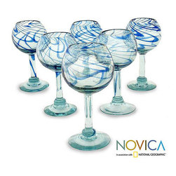 Novica - Set of 6 Blown Glass 'Blue Ribbon' Wine Glasses (Mexico) - You will hear mariachi music accompanied by a rolling ocean when enjoying a beverage from these hand-blown wine glasses. Made from crystalline-blown glass with swirling blue ribbons, each glass will be slightly different in your six-pack.