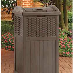 Suncast Trash Hideaway, Resin Wicker - Any outdoor space would not be complete without a trash can. Seriously. This trash can is certainly more visually appealing than your typical outdoor trash can.