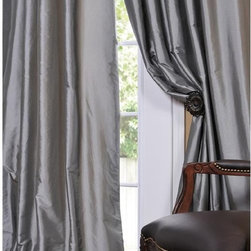Solid Faux Silk Taffeta Platinum Curtain Panel - Add some drama to your space with these gray silk taffeta drapery panels.