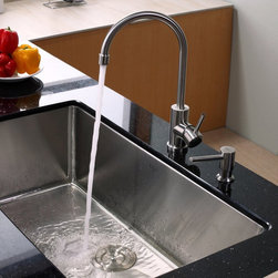 Kraus - Kraus KHU100-32-KPF2160-SD20 Single Basin Undermount Kitchen Sink with Faucet Mu - Shop for Kitchen from Hayneedle.com! Clean and elegant in style the Kraus KHU100-32-KPF2160-SD20 Single Basin Undermount Kitchen Sink with Faucet will have your kitchen running at tip-top shape. A twist of the single handle springs the faucet to life while the integrated soap dispenser is always in reach. An oversized basin offers ample room for any task at hand.Product SpecificationsBowl Depth (inches): 10Weight (pounds): 30Low Lead Compliant: YesEco Friendly: YesMade in the USA: YesHandle Style: LeverValve Type: Ceramic DiscFlow Rate (GPM): 2.2Spout Height (inches): 9Spout Reach (inches): 7.5About KrausWhen you shop Kraus you'll find a unique selection of designer pieces including vessel sinks and faucet combinations. Kraus incorporates its distinguished style with superior functionality and affordability while maintaining highest standards of quality in its vast product line. The designers at Kraus are continuously researching and exploring broader markets seeking new trends and styles. Additionally durability and reliability are vital components at Kraus for developing high-quality fixtures. Every model undergoes rigorous testing and inspection prior to distribution with customer satisfaction in mind. Step into the Kraus world of plumbing perfection. With supreme quality and unique designs you will reinvent how you see your bathroom decor. Let your imagination become reality!