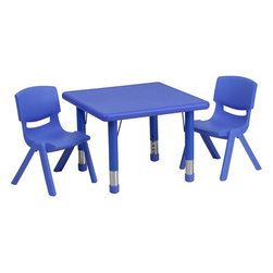 "Flash Furniture - 24"" Adjustable Blue Plastic Activity Table Set with 2 School Stack Chairs - This table set is excellent for early childhood development. Primary colors make learning and play time exciting when several colors are arranged in the classroom. The durable table features a plastic top with steel welding underneath along with height adjustable legs. The chair has been properly designed to fit young children to develop proper sitting habits that will last a lifetime."