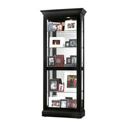 Howard Miller - Berends Black Satin Curio Cabinet w Sliding D - Modern and sophisticated, this five level curio has a charming black satin finish on its exterior. Its interior is illuminated by a handy rear light switch, shining light on your valuables and the glass mirrored back for a very impressive display. * The front door of this transitional display cabinet slides in both directions for easy access to the shelvesFinished in Black Satin on select materials, hardwoods and veneersAdjustable levelers under each corner provide stability on uneven and carpeted floorsPad-LockT cushioned metal shelf clips increase stability and safetyGlass shelves can be adjusted to any level within your cabinetLocking door for added securityCabinet is illuminated by an interior lightGlass mirrored back beautifully showcases your collectiblesNo-ReachT light switch is conveniently located on the back of the cabinet78 in. H x 32 in. W x 14.25 in. D