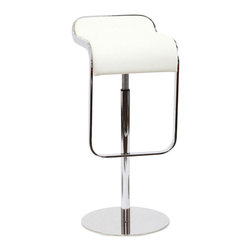 Modway Furniture - Modway LEM Leather Barstool in White - Leather Barstool in White belongs to LEM Collection by Modway The LEM Style Bar Stool has sleek lines that would be equally impressive in a restaurant or at home. Our premium version has a high quality Italian leather seat. Perfect for entertaining guests at restaurants, your home bar, or for stylish seating around the kitchen counter. Set Includes: One - LEM Bar Stool Barstool (1)